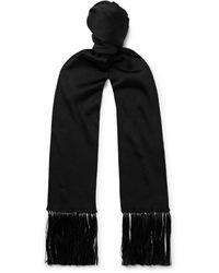 Tom Ford Fringed Silk Scarf - Black