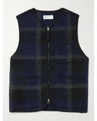 Universal Works - Checked Brushed-fleece Gilet - Lyst