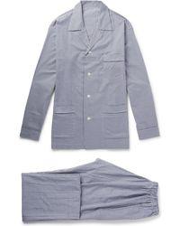 Anderson & Sheppard Gingham Brushed-cotton Pyjama Set - Blue