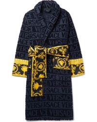 5611bb0664 Versace - I Love Baroque Logo Jacquard Cotton Bathrobe - Lyst