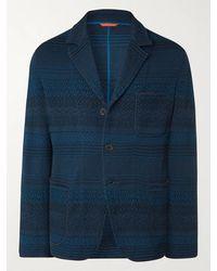 Missoni Crochet-knit Cotton And Wool-blend Blazer - Blue