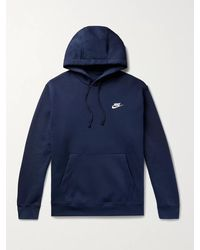 Nike Club Logo-embroidered Fleece-back Cotton-blend Jersey Hoodie - Blue