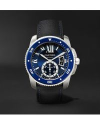 Cartier - Calibre De Diver Automatic 42mm Stainless Steel And Leather Watch - Lyst