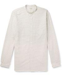 Camoshita - Grandad-collar Checked Cotton Shirt - Lyst
