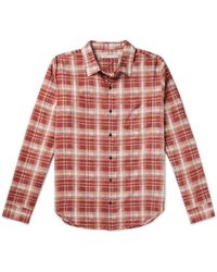 Outerknown Highline Checked Cotton And Linen-blend Flannel Shirt - Red