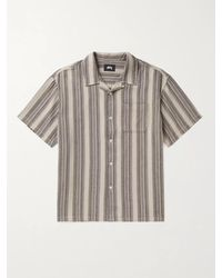 Stussy Camp-collar Striped Waffle-knit Cotton Shirt - Grey