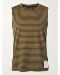 Satisfy Logo-print Striped Stretch-jersey Running Tank Top - Green