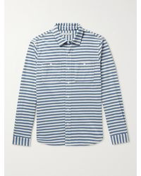 Outerknown Striped Recycled Cotton-blend Shirt - Blue