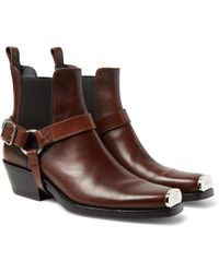 CALVIN KLEIN 205W39NYC - Distressed Embellished Harness Leather Boots - Lyst