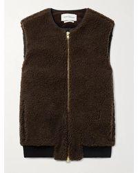 Oliver Spencer Huston Corduroy-trimmed Fleece Gilet - Brown