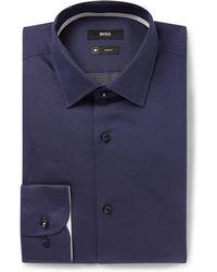 BOSS - Navy Jesse Slim-fit Pin-dot Stretch Cotton-poplin Shirt - Lyst