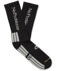 Aries Logo-jacquard Stretch Cotton-blend Socks - Black