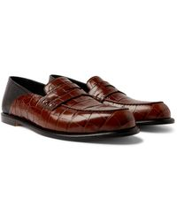 Loewe Collapsible-heel Croc-effect And Full-grain Leather Penny Loafers - Brown