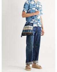 Blue Blue Japan Camp-collar Printed Chirimen Crepe Shirt - Blue