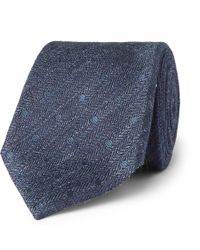 Tom Ford - 8cm Embroidered Herringbone Linen And Silk-blend Tie - Lyst
