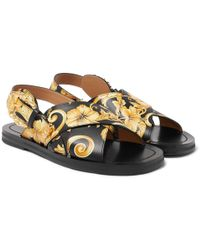 Versace - Printed Leather Sandals - Lyst
