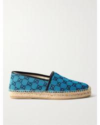 Gucci Alejandro Leather-trimmed Logo-jacquard Canvas Espadrilles - Blue