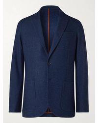 Loro Piana Unstructured Birdseye Cashmere And Silk-blend Blazer - Blue