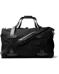 Filson Leather-trimmed Twill Duffle Bag - Black