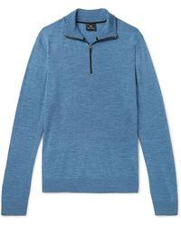 PS by Paul Smith Mélange Merino Wool Half-zip Jumper - Blue