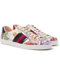 Gucci - Ace Printed Leather Trainers - Lyst