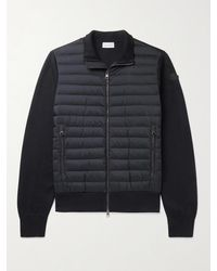Moncler Slim-fit Panelled Cotton-blend And Quilted Shell Down Zip-up Cardigan - Blue