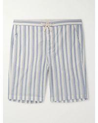 Oliver Spencer Striped Organic Cotton Pyjama Shorts - Blue