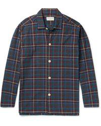 Oliver Spencer Checked Cotton Pajama Shirt - Blue