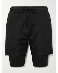 Haydenshapes Arsham Stampd Slim-fit Mid-length Layered Swim Shorts - Black