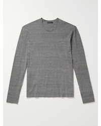 James Perse Slim-fit Mélange Recycled Cotton Jumper - Grey