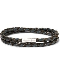 Tateossian - Woven Leather And Sterling Silver Bracelet - Lyst