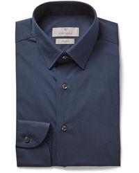 Canali Slim-fit Cotton-blend Poplin Shirt - Blue