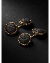 Buccellati Premium Gentlemen Gold And Blackened Silver Multi-stone Cufflinks - Metallic