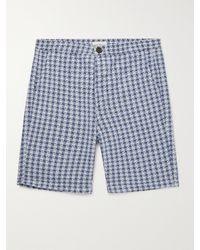 Oliver Spencer Cotton-seersucker Drawstring Shorts - Blue