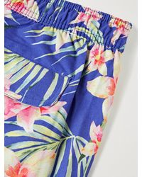 Onia Calder Mid-length Floral-print Swim Shorts - Blue