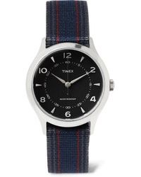 Timex | Whitney Village Stainless Steel And Striped Grosgrain Watch | Lyst
