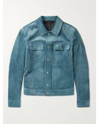 Tom Ford Suede Blouson Jacket - Blue