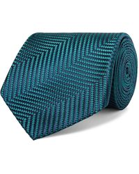 Charvet 8.5cm Herringbone Silk-jacquard Tie - Blue