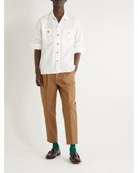 Drake's Cotton-ripstop Overshirt - White