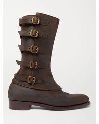 Kingsman George Cleverley Vaughn Buckled Nubuck Boots - Brown