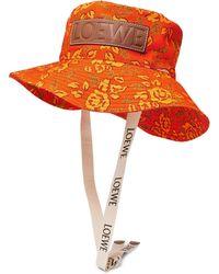 Loewe - Paula's Ibiza Leather-appliquéd Printed Cotton-canvas Bucket Hat - Lyst