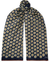 Drake's Printed Cotton And Silk-blend Scarf - Blue