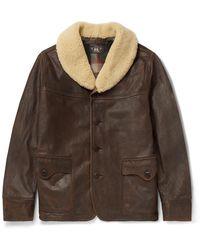 RRL Palmer Shearling-trimmed Distressed Leather Jacket - Brown