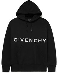 Givenchy Logo-embroidered Cotton-jersey Hoodie - Black