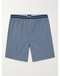 BOSS by Hugo Boss Striped Cotton-poplin Pyjama Shorts - Blue