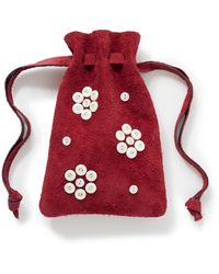 Bode Button-embellished Logo-print Suede Pouch - Red