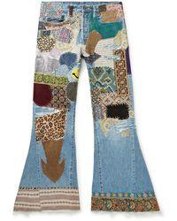 Kapital Flared Distressed Embellished Jeans - Blue