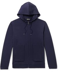 Zimmerli Slim-fit Stretch Micro Modal And Cotton-blend Zip-up Hoodie - Blue
