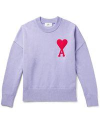 AMI Logo-intarsia Cotton-blend Sweater - Purple