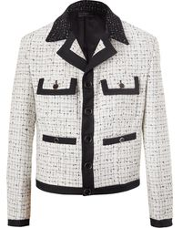 Amiri Cropped Silk Twill-trimmed Bouclé Jacket - White